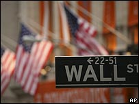 Street sign showing Wall Street, the US financial sector