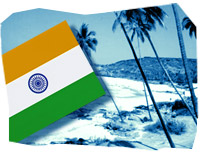 The Indian flag and a Goan beach