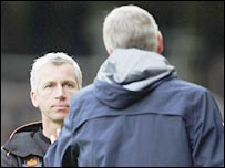 Alan Pardew and Arsene Wenger clash on the touchline