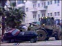 Israeli bulldozer in Ramallah