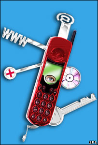 Graphic of a mobile phone as a swiss army knife