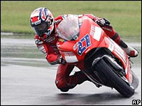 Casey Stoner pictured at a wet Donington during practice on Friday