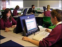 Pupils sitting a mock ICT test
