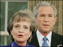 Harriet Miers and President George W Bush. File photo