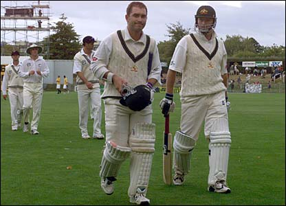 Justin Langer and Steve Waugh