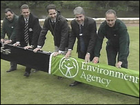 The opening of the flood defence project