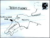 The envelope with map