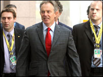 Tony Blair with some of his staff