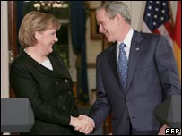 German Chancellor Angela Merkel and US President George W Bush