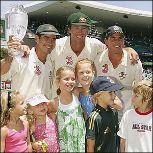 Justin Langer, Glenn McGrath and Shane Warne with their respective children