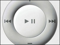 Controls on an Apple iPod Shuffle player
