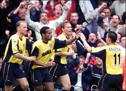 Thierry Henry scores his first goal for Arsenal against Southampton