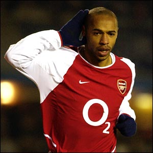 Thierry Henry scores against Birmingham in January 2003