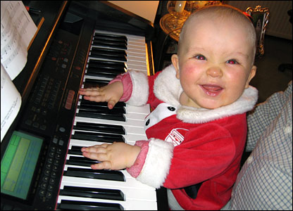 Baby playing the piano