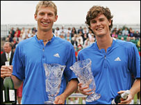 Eric Butorac and Jamie Murray celebrate winning the Nottingham Open