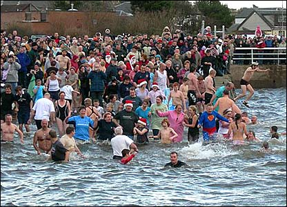 People swimming on New Year's Day