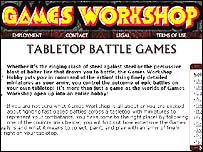 Games workshop web page