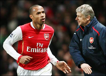 Thierry Henry and Arsenal boss Arsene Wenger