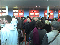 Passengers at Bristol Airport