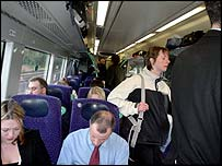Passengers on a First ScotRail train