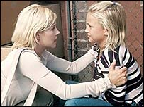 Elisha Cuthbert and Skye McCole Bartusiak as Kim Bauer and Megan Matheson in 24