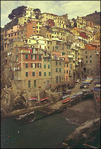 The marina and medieval village of Riomaggiore, Italy. (southern-most town of Cinque Terre)