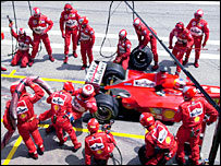 Ferrari's pit crew in 2000