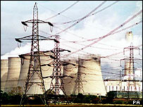 Pylons and cooling towers