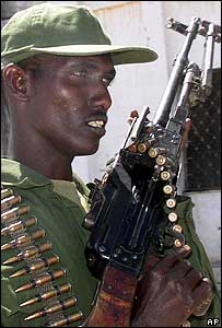 An armed Somali soldier in Mogadishu
