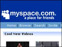 Screengrab of MySpace homepage, MySpace