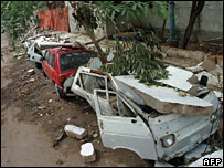 Remains of wrecked car, Karachi, Sunday 24 June 2007