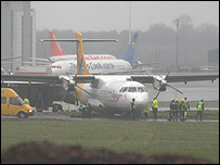An Aurigny flight ended up in the safety zone at Bristol Airport in December: Pic by Jamie Wilkins