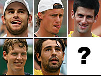 De izq. a der. y de arriba a abajo: Roddick, Hewitt, Djokovic, Berdych, Baghdatis.