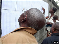 Voters look for their names on electoral lists in Brazzaville