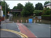 Railway bridge at Tredworth Road, Gloucester, under water