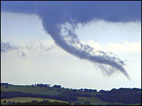 Picture of funnel cloud taken by Steve Hughes in Wellington, Shropshire
