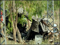 Wreckage of armoured vehicle
