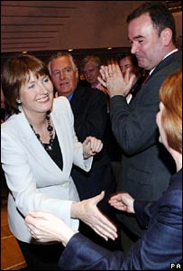 Harriet Harman is congratulated by the other candidates