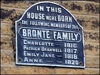 Sign on the Bronte house in Bradford