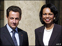 Nicolas Sarkozy (left) shakes hand with Condoleezza Rice after meeting at the Elysee Palace in Paris