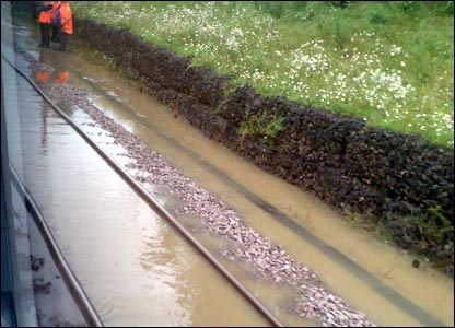Flooded railway. Picture by Steve Jenkins