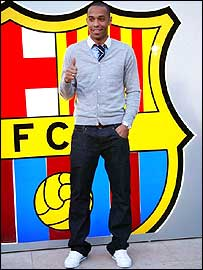 Barcelona's new striker Thierry Henry