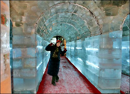 Tourist inside ice sculpture