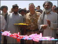 The foundation stone laying ceremony at a new Afghan school built by British troops
