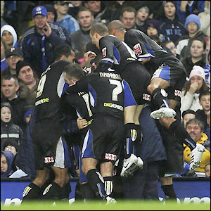 Macclesfield's players celebrate their equaliser