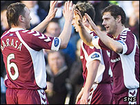 Hearts celebrate their opening goal at Stair Park