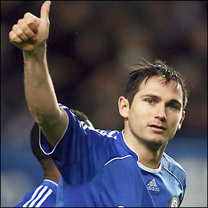 Lampard salutes the fans after scoring his third