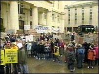 The protest in Brighton