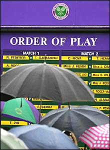 A board displaying the order of play at Wimbledon