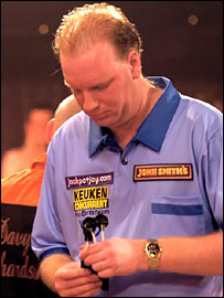 Van der Voort reacts to his first-round defeat in Frimley Green